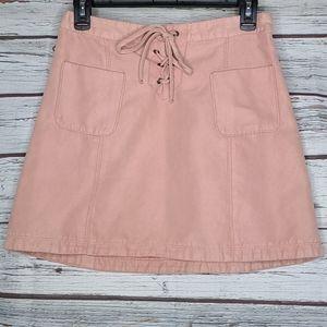 Hollister pink faux suede mini skirt sz 5